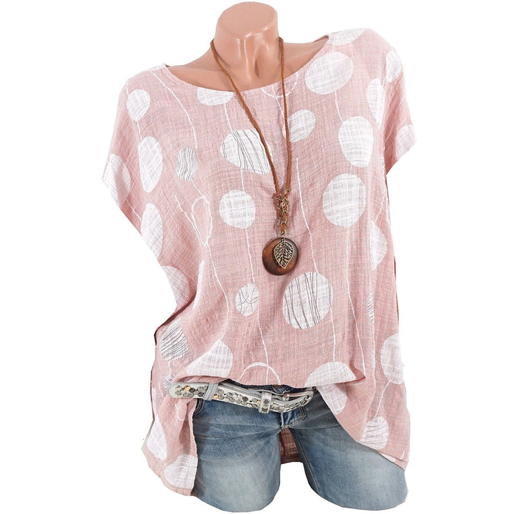 Plus Size 5XL Summer Streetwear Print Short Sleeve Blouses