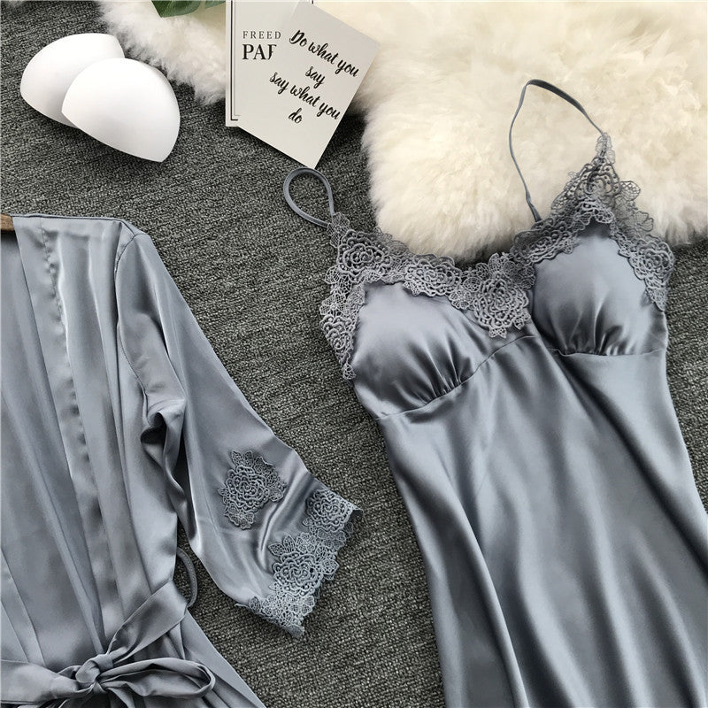 Silk Robe Femme with Chest Pads Sexy Lace Sleepwear Night Dress