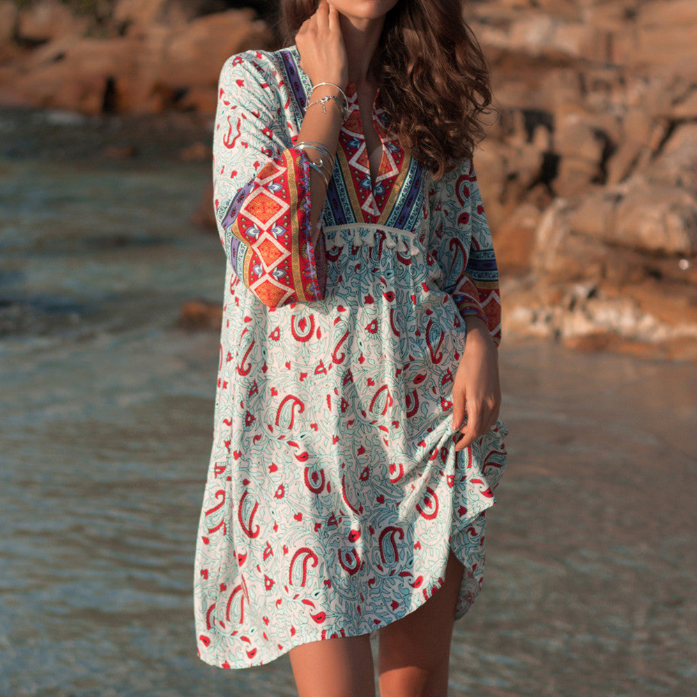 Bohemian Printed Summer Beach Dress