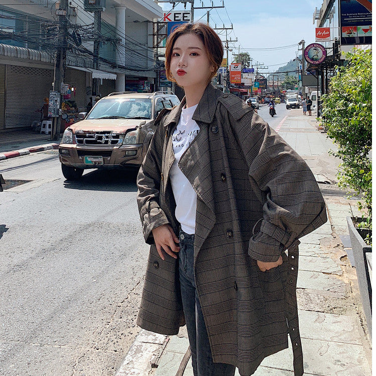 Plaid Double-breasted Trench Coat for Women Autumn Winter New 2019 Loose Korean Fashion Windbreanker