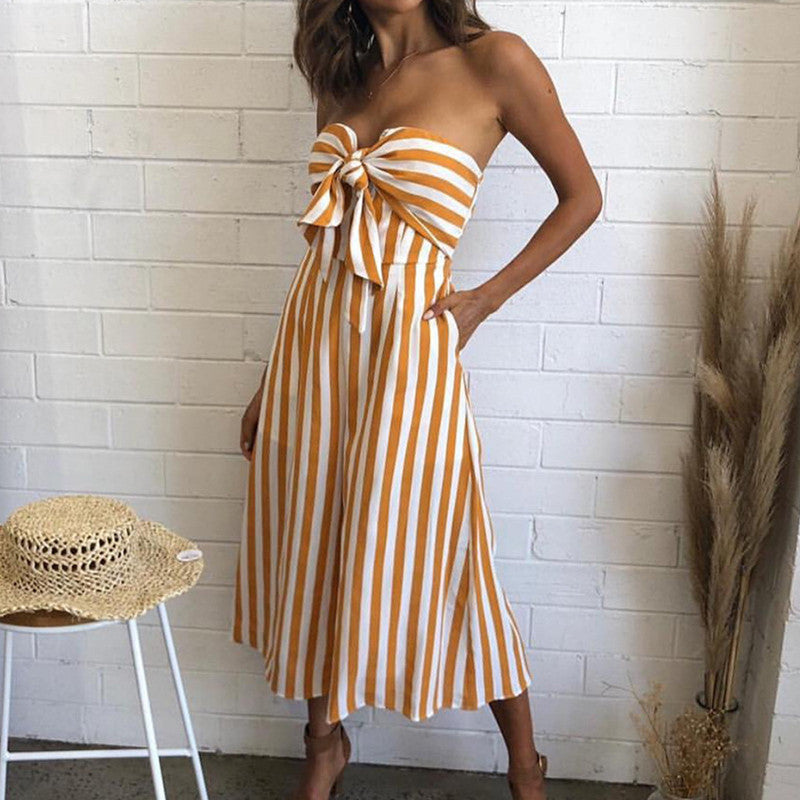 Striped Sleeveless Wide Leg Jumpsuit