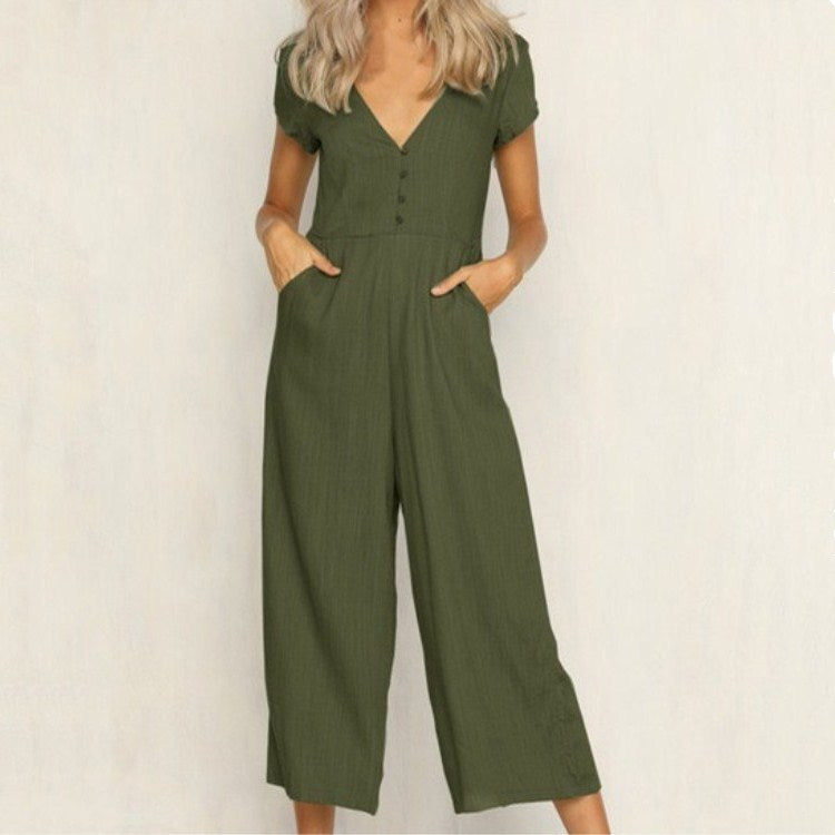 Sexy V Neck Short Sleeve Solid  Casual Loose Cotton Jumpsuits