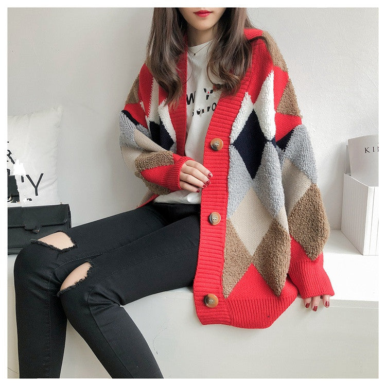 Women's Sweaters Autumn Winter 2019 fashionable Casual Plaid V-Neck Cardigans