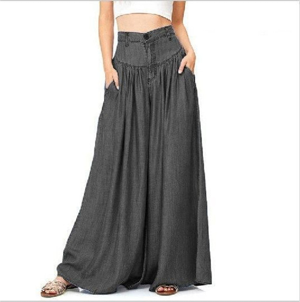 Plus Size Causal Pants High Waist Wide Leg Pants