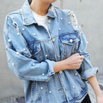 Pearls Beading Ripped Denim Jacket Women Vintage Single Breasted Long Sleeve Jean Jackets and Coats Plus Size 2019 Spring Fall