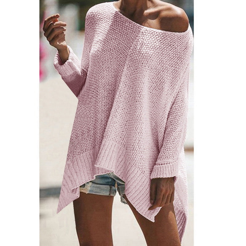 2019 Loose Casual Sweater Streetwear Off Shoulder Pullovers Autumn Winter Sweater