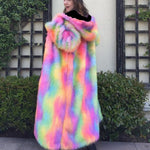 Fall winter fashion multicolor maxi long faux fur coat with hood women hooded thernal coats women's hoodies outerwear clothes