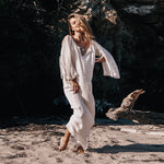 Bohemian Summer Sexy V Neck Off Shoulder Casual Loose Beach Dress