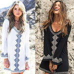 Bohemian print embroidery summer mini dress