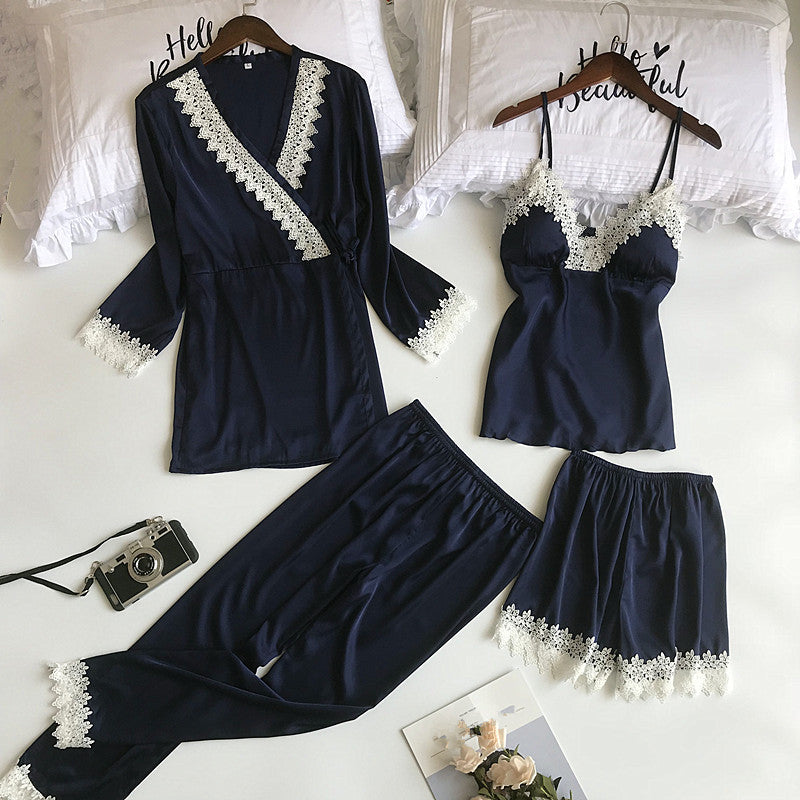 Autumn Winter Women Pajamas Sets 4 Pieces