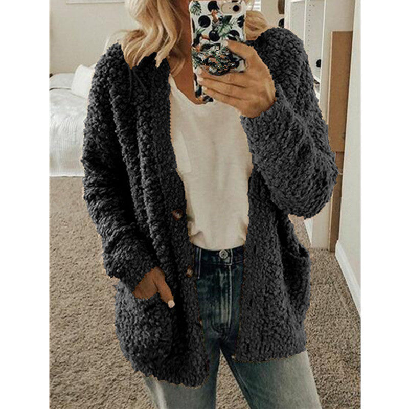 New Women's Fashion Winter Warm Solid Color Cardigan Coats Long Sleeve Knitted Sweaters Jackets Loose Faux Fur Cardigan Coat