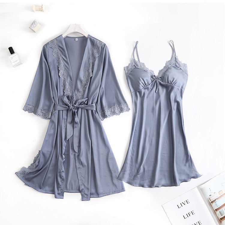 Sexy Lace Silk Robe & Gown Pajamas Sets