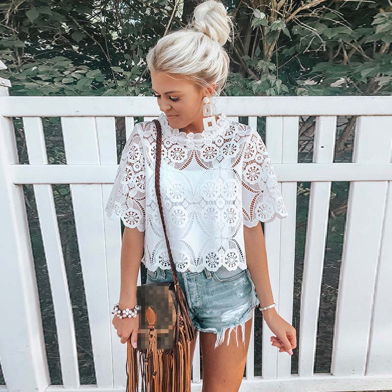 Vintage White Lace Embroidery Blouse