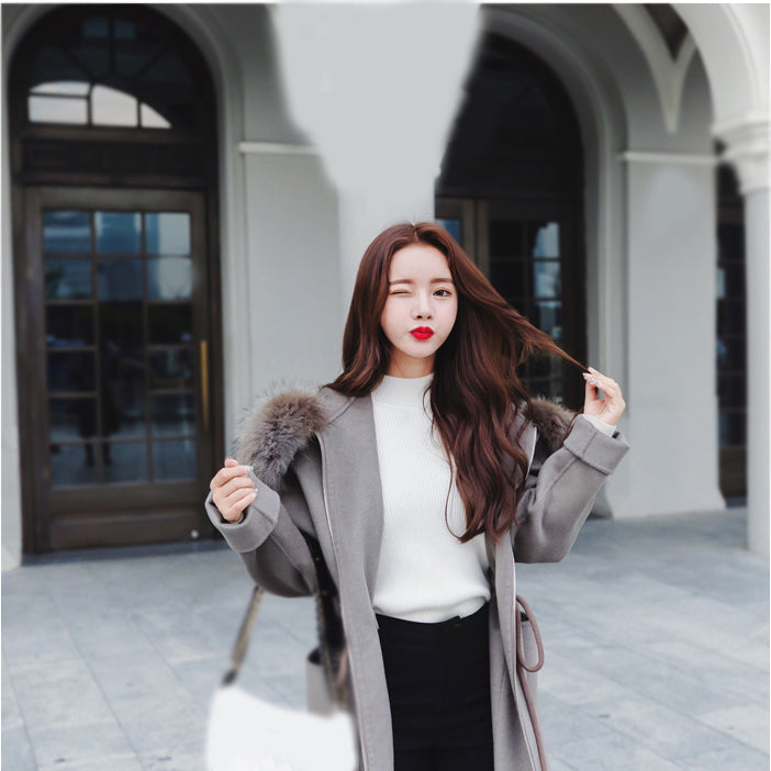 Casual Loose  Long Woolen Winter Coats Zipper Hooded Wool Coat and Jacket Sashes Pockets Solid Ladies Coats