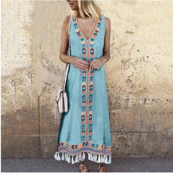 Bohemian V-neck Print Tassels Summer Dress