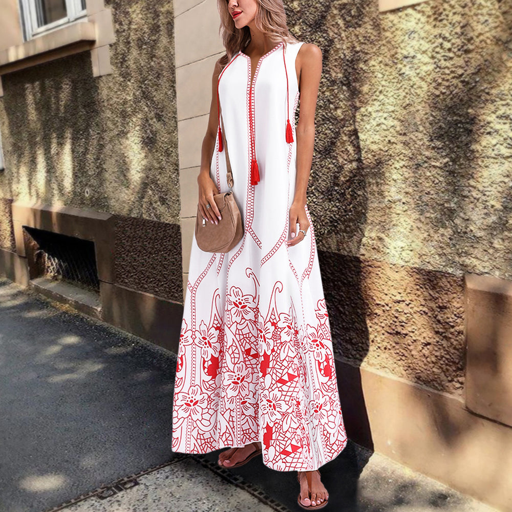 White Summer Plus Size Red Cotton Maxi Dress