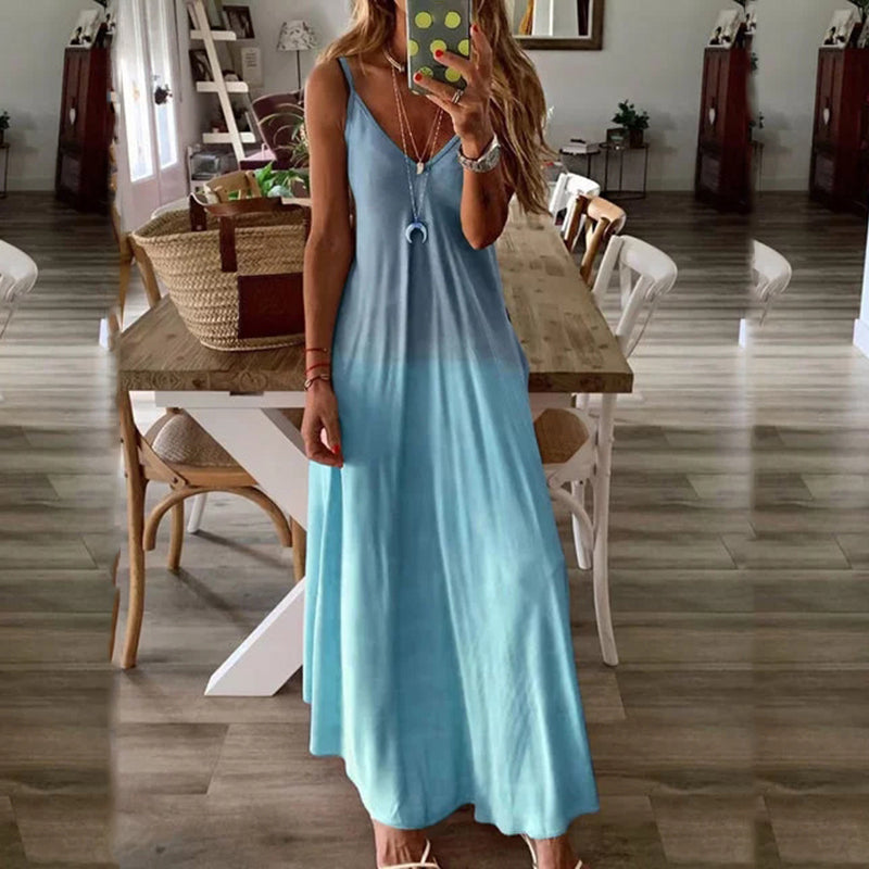 Solid color v neck dress women Spaghetti strap beach dress