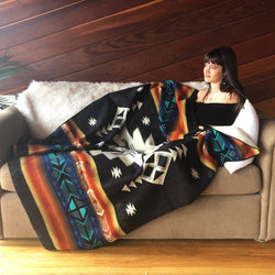 Chakana Throw Alpaca Wool Blanket| Native Pattern| Gift for Her| Reversible
