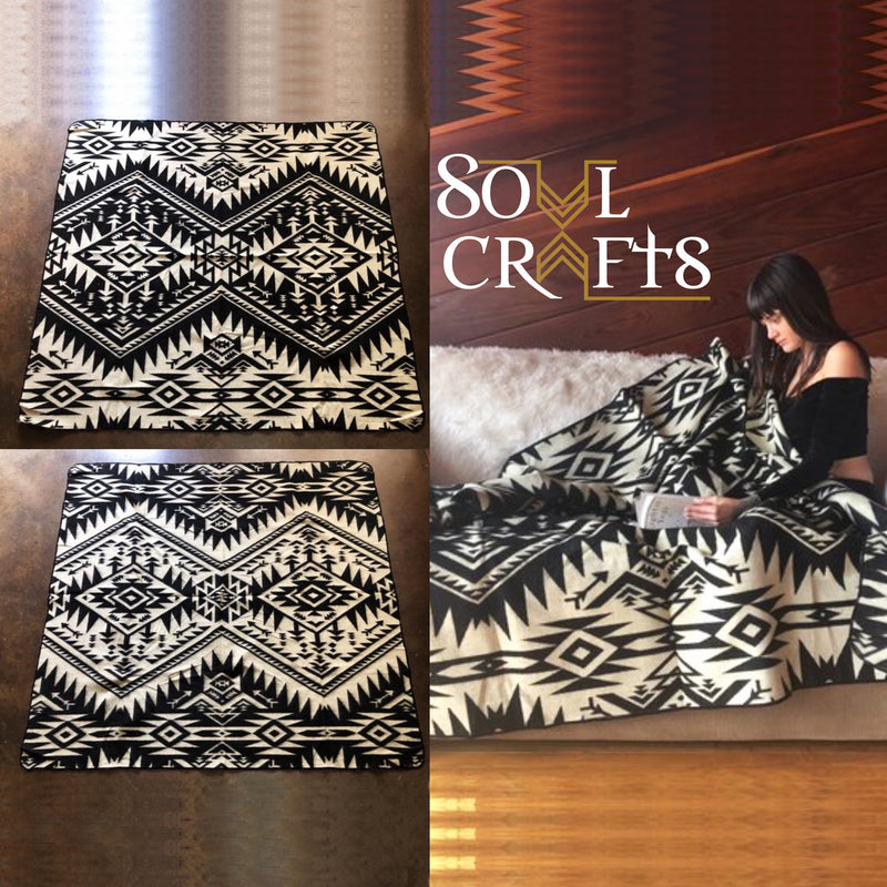 Inca Cross Throw Alpaca Wool Blanket| Ethnic Native Pattern| Reversible