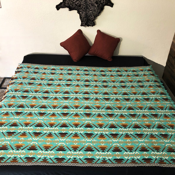 Quechua Turquoise Full Size Alpaca Wool Blanket| Geometrical Pattern| Wedding Gift