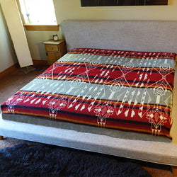 Sedona King Size Alpaca Wool Blanket| Wedding Gift| Green & Red| Reversible