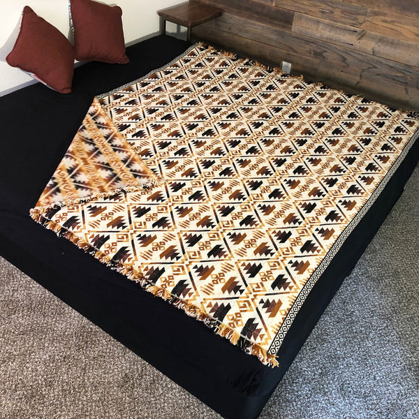 Quechua Brown Full Size Alpaca Wool Blanket| Geometrical Pattern| Reversible