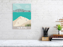 Load image into Gallery viewer, Vintage inspired travel print of kitesurfing in tarifa spain