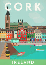 Load image into Gallery viewer, Vintage inspired travel print of Cork Ireland