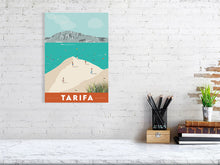 Load image into Gallery viewer, Vintage inspired travel print of Tarifa with view of Tangier and Ceuta, Morrocco. Kitesurfers and Beachgoers