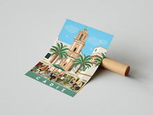 Load image into Gallery viewer, Travel poster of Cádiz square Spain