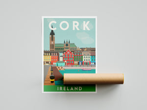Vintage inspired travel print of Cork Ireland
