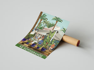 Vintage inspired travel poster of KE bar Sotogrande Cadiz