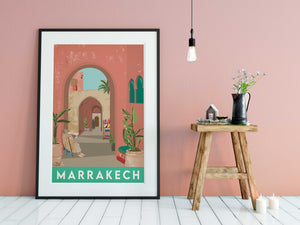 Vintage inspired travel print of Marrakech, Morrocco. Gentleman sitting in alleyway with cats and plants