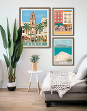 Load image into Gallery viewer, Travel poster of Cádiz square