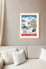 Load image into Gallery viewer, Vintage inspired travel print of skiing in Val D'isere France