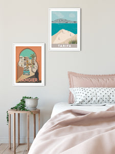 Vintage inspired travel print of Tangier, Morrocco