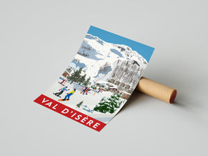 Vintage inspired travel print of skiing in Val D'isere France