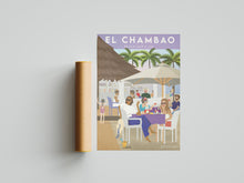Load image into Gallery viewer, Vintage inspired travel poster of Chambao Beach Bar Sotogrande Cadiz
