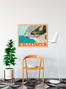 Gibraltar Catalan Bay Beach Print Travel Poster
