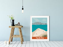 Load image into Gallery viewer, A3 Vintage inspired travel print of Tarifa with view of Tangier and Ceuta, Morrocco. Kitesurfers and Beachgoers