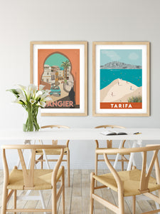Vintage inspired travel print of Tarifa with view of Tangier and Ceuta, Morrocco. Kitesurfers and Beachgoers