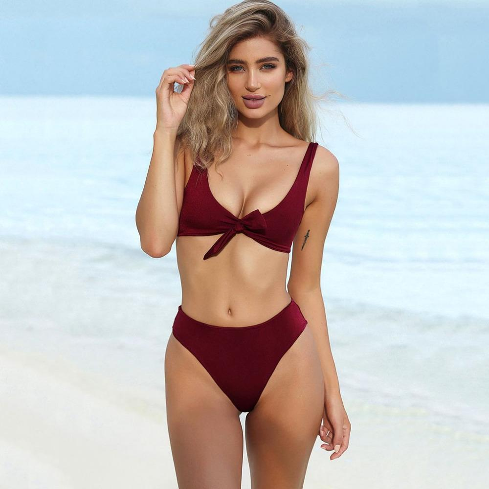 Bow Tie High Waist Bikini Set