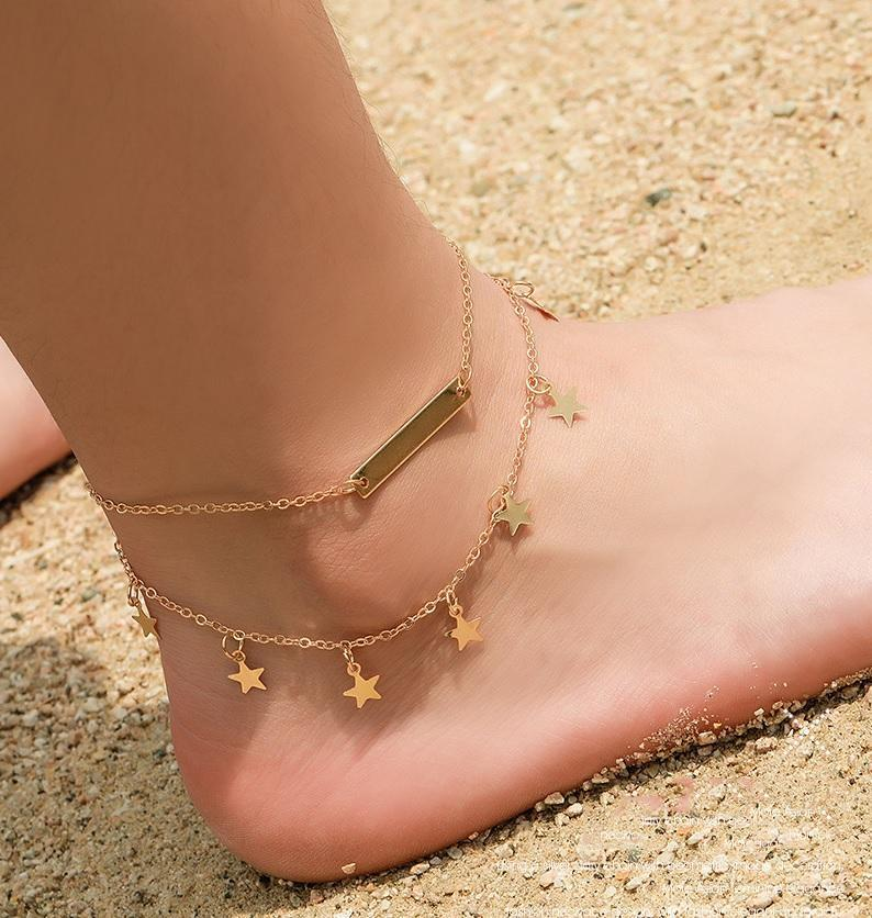Star Chain Anklets Set