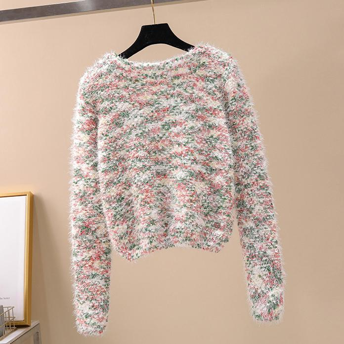 Comfortable Seersucker Crop Sweater