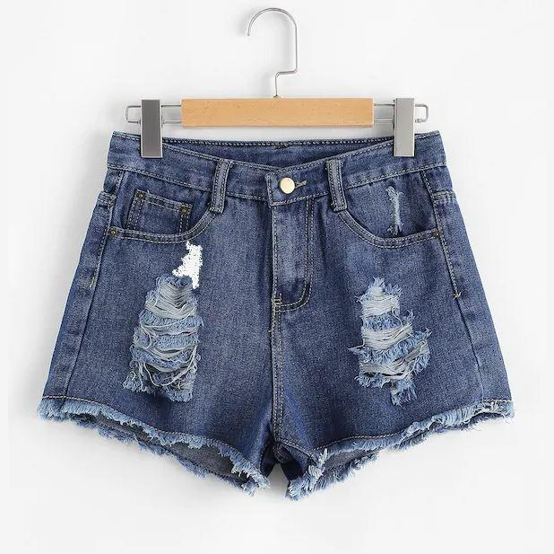 Shredded Denim Shorts