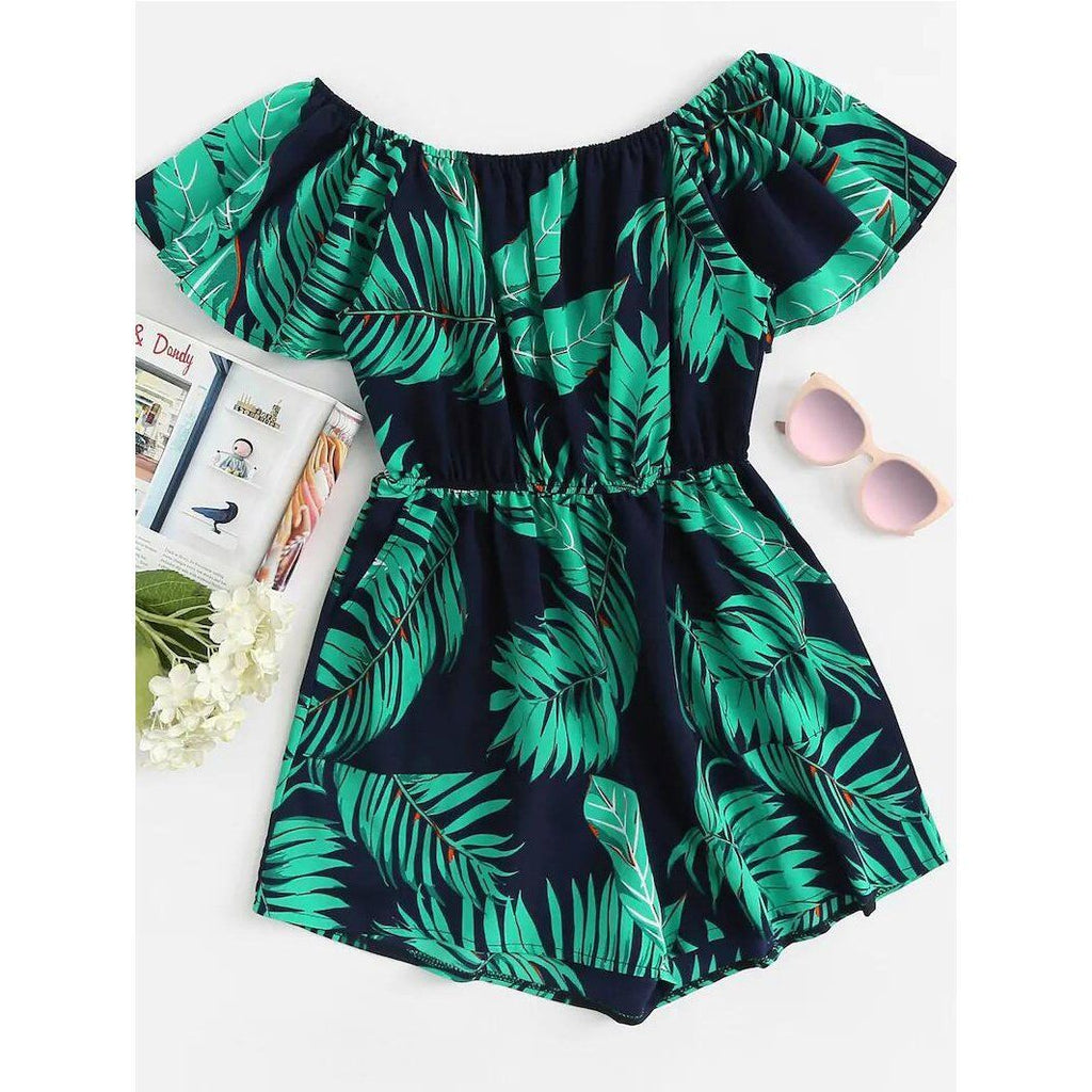 Palm Leaves Slash Neck Romper