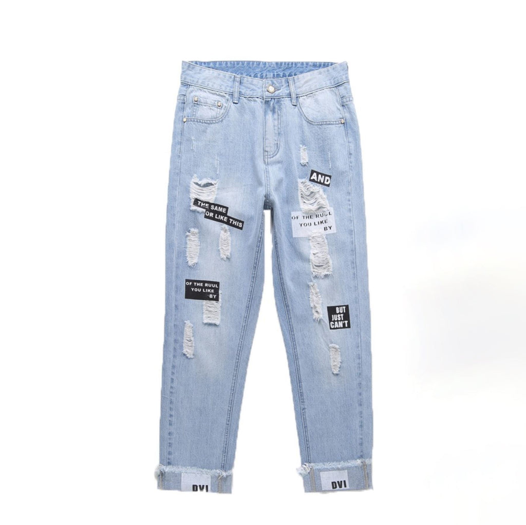 Shredded Tapered Jeans