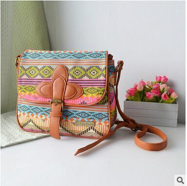 Patterned Canvas Shoulder Bag