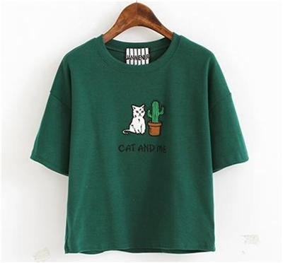 Cat & Cactus Embroidery T-Shirt