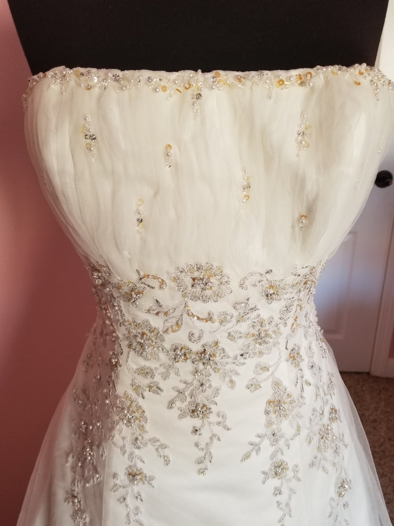 A-line with embroidery overlay